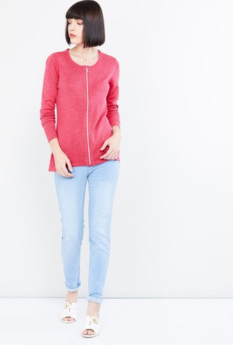 MAX Striped Zip-Up Sweater