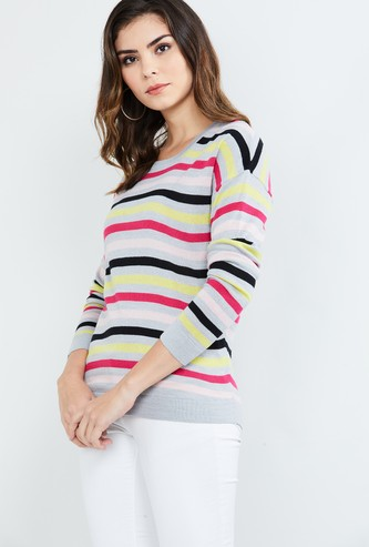 MAX Striped Drop-Shoulder Sweater