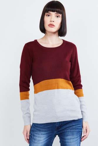MAX Colorblocked Round Neck Sweater