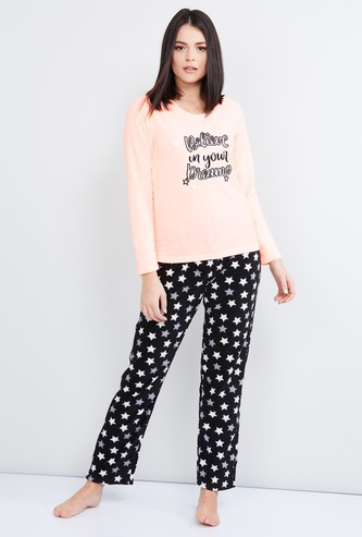MAX Printed Full Sleeves Top with Pyjamas