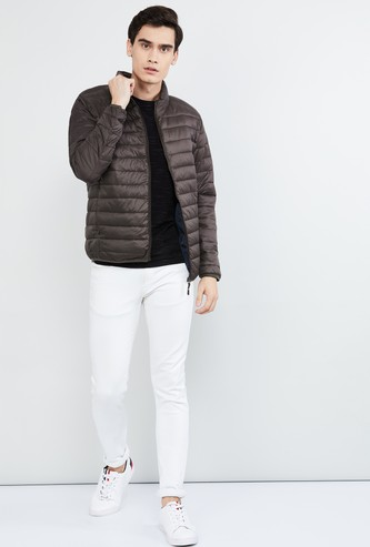 MAX Solid Quilted Jacket with Zip Closure