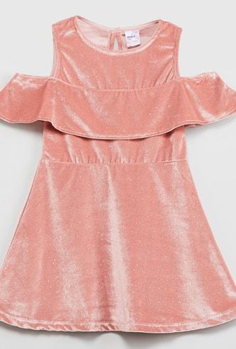 MAX Cold-Shoulder Shimmery A-line Dress