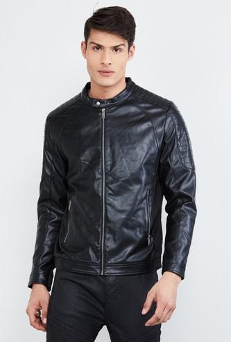 MAX Solid Zip-Up Biker Jacket
