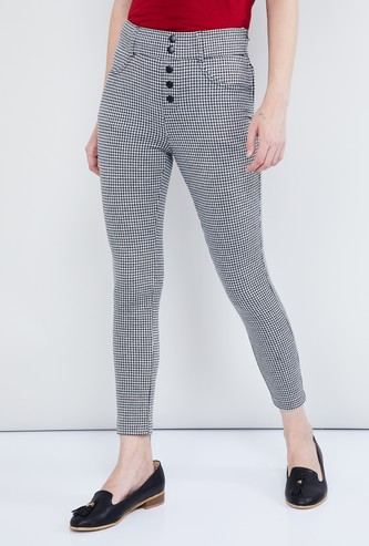MAX Houndstooth Pattern Weave Cropped Trousers