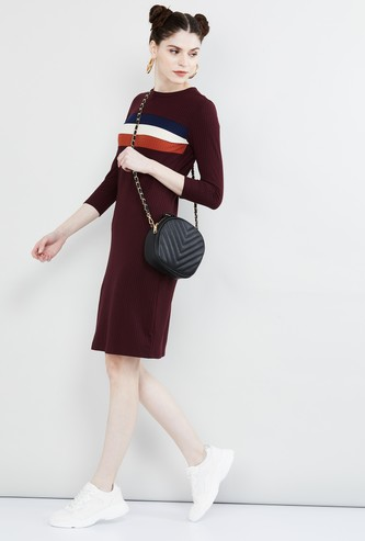 MAX Ribbed Jersey Dress with Contrast Stripes