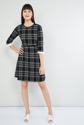 MAX Checked Fit & Flare Dress