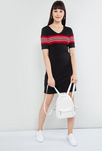 MAX Striped Round Neck T-shirt Dress