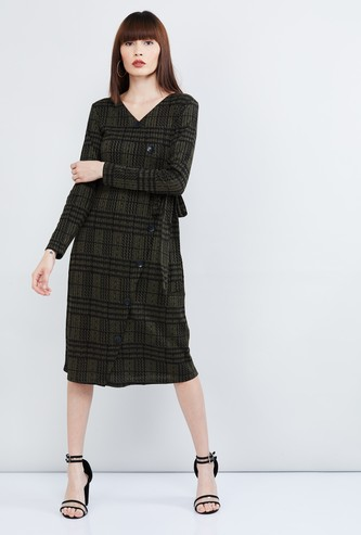 MAX Checked Button-Down Full Sleeves Dress