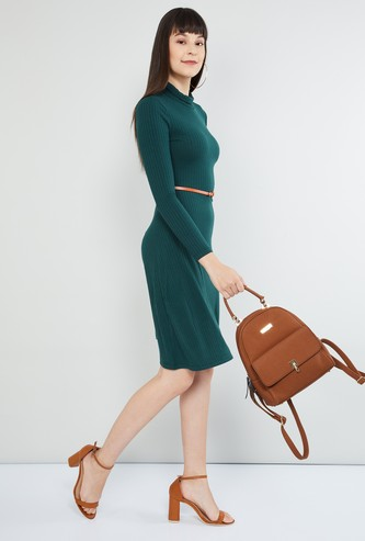 MAX Cowl Neck Striped Bodycon Dress with Belt