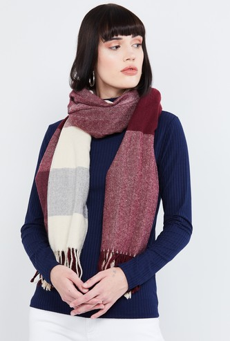 MAX Striped Muffler Scarf with Fringes