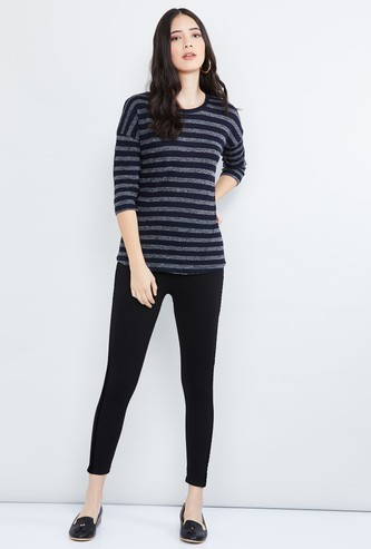 MAX Striped Three-Quarter Sleeves Top