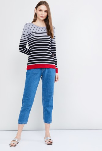 MAX Striped Long Sleeves Top