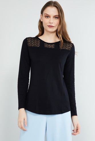 MAX Net Detailed Round Neck Top