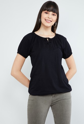MAX Solid Tie-Up Neck Top