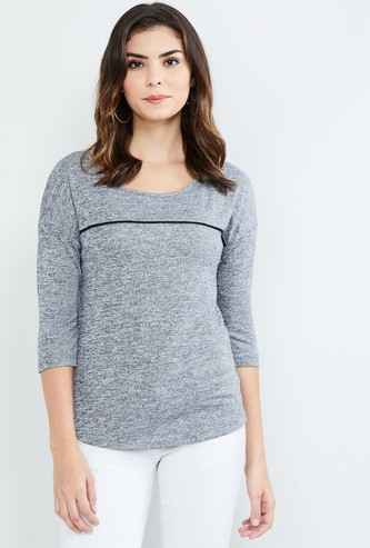 MAX Solid Round Neck Drop-shoulders Top