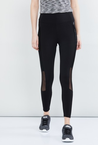MAX Typographic Print Panelled Cropped Active Tights