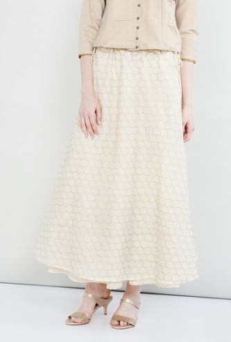 MAX Printed Flared Skirt with Tie-Up Closure
