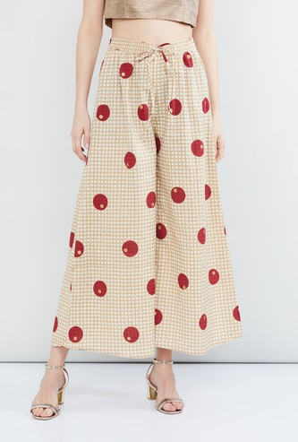 MAX Polka-Dot Print Checked Palazzo Pants