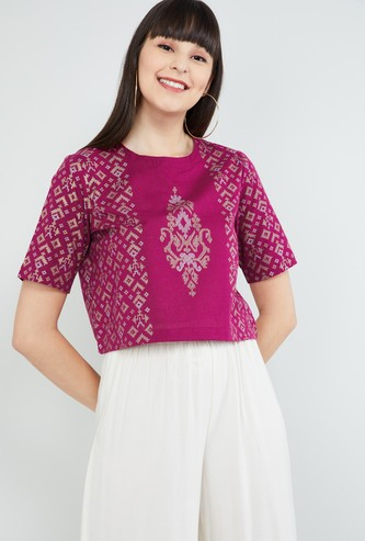 MAX Jacquard Patterned Round Neck Top