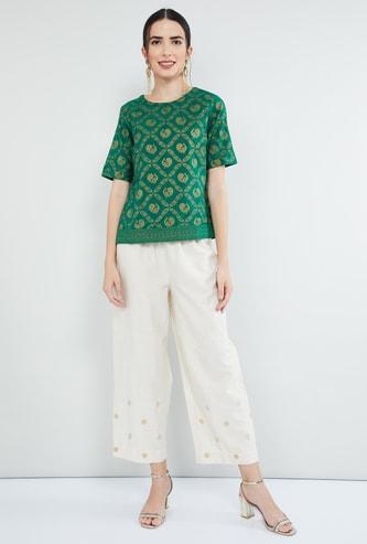 MAX Paisley Print Short Sleeves Top