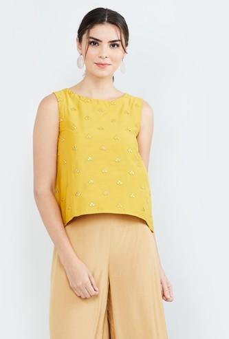 MAX Embroidered Curved Hemline Sleeveless Top