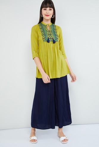 MAX Embroidered Tie-Up Neck Tunic with Gathered Detail