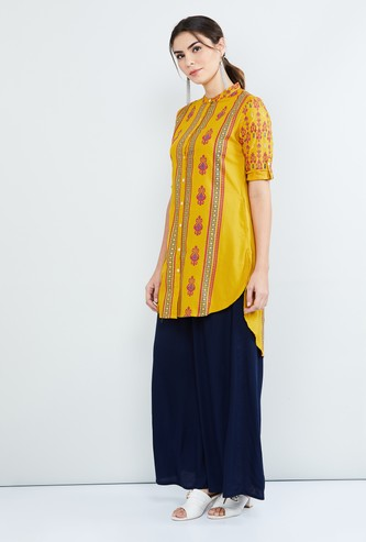 MAX Printed Rolled-Up Sleeves Kurti