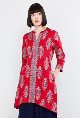 MAX Printed Band Collar Notch Neck Tunic