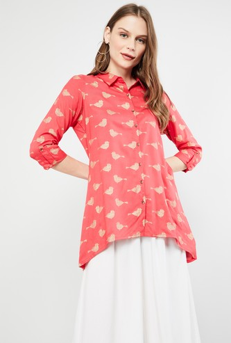 MAX Roll-Up Sleeves Printed Collared Tunic