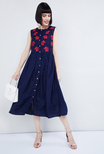 MAX Embroidered Sleeveless Midi Dress