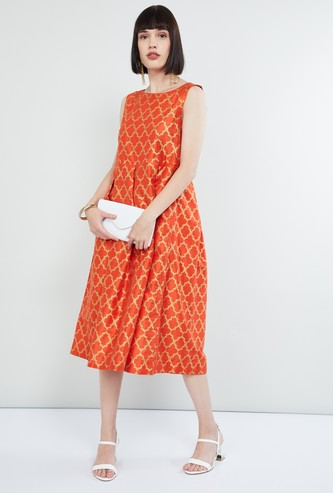 MAX Printed Inverted Pleat Midi Dress