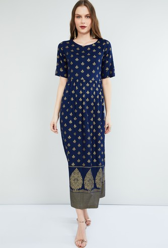 MAX Foil Print Short Sleeves Maxi Dress