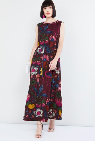 MAX Floral Print Tie-Up Waist Maxi Dress