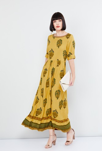 MAX Printed Fit-And-Flared Maxi Dress