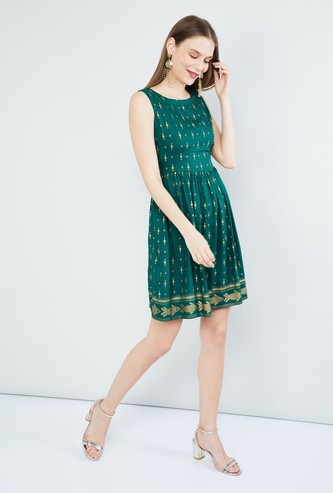 MAX Printed Fit-And-Flare Dress