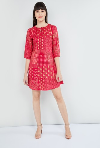 MAX Printed Mini Shift Dress with Elbow Sleeves