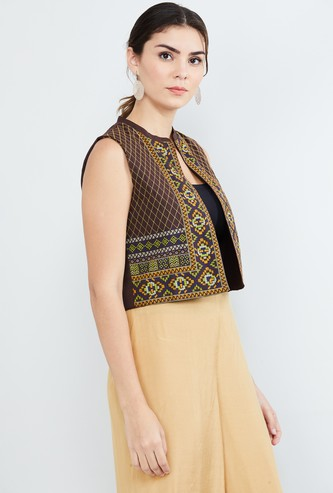 MAX Printed Sleeveless Ethnic Jacket