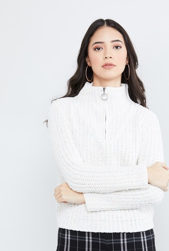 MAX Textured Knit High-Neck Sweater