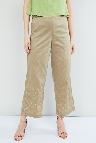 MAX Embroidered Woven Cropped Pants