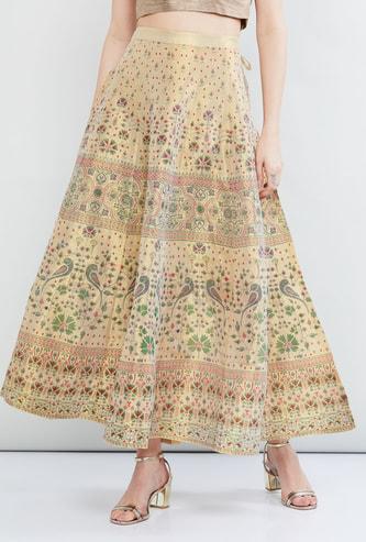 MAX Printed Tassel Tie-Up Detail Skirt