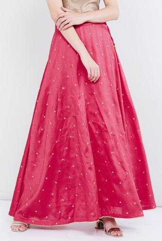 MAX Sequinned Maxi Skirt with Tasselled Tie-Up