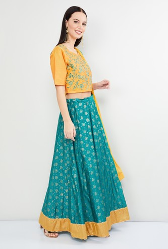 MAX Embroidered Lehenga with Blouse and Dupatta