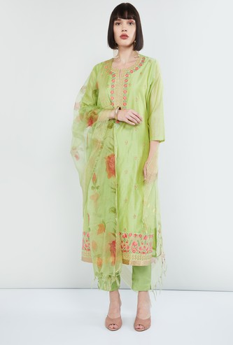 MAX Floral Embroidered Kurta with Straight Pants and Dupatta