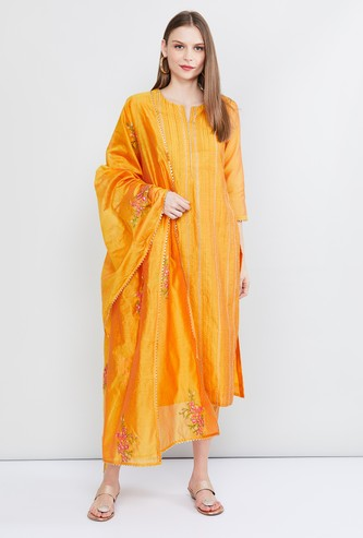 MAX Embroidered Straight Kurta with Cropped Pants and Dupatta