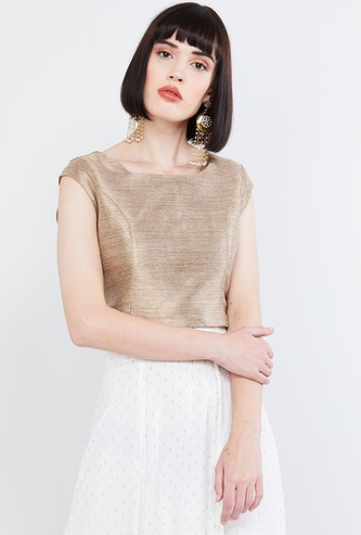 MAX Shimmery Round Neck Top