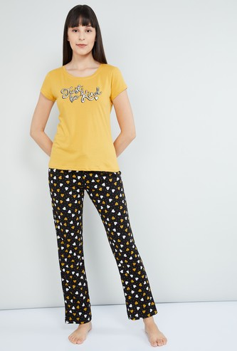 MAX Slogan Print Round Neck T-shirt and Contrast Pants Set