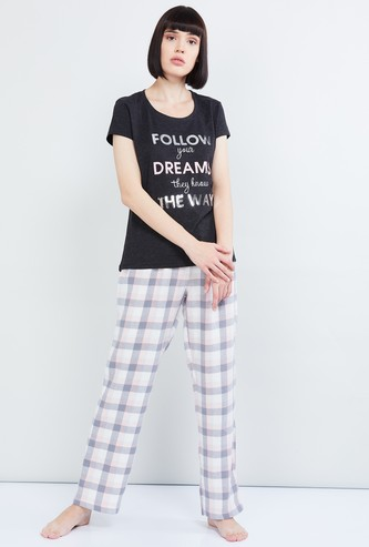 MAX Printed T-shirt with Checked Pyjamas