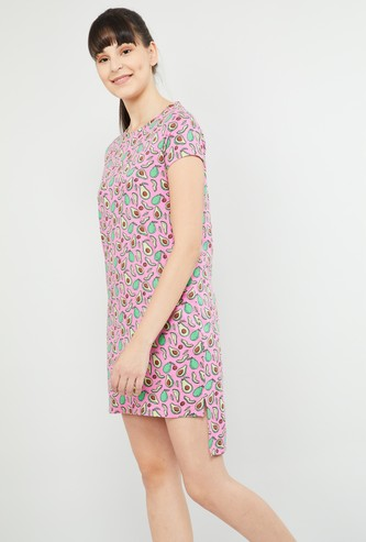 MAX Printed High-Low Hem Lounge Dress