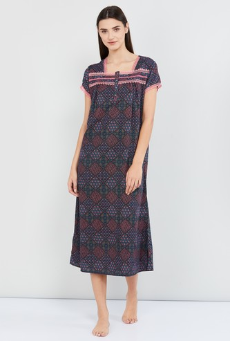 MAX Printed Square Neck Nightgown
