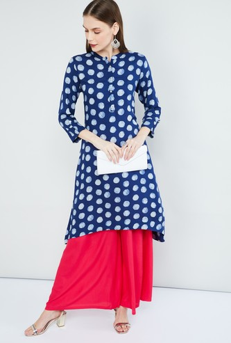 MAX Printed Band Collar Asymmetrical Hem Kurta